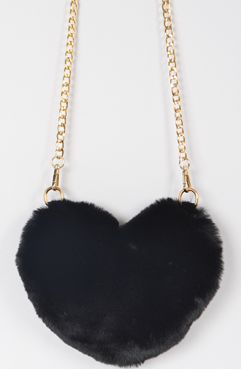 Black Heart Faux Fur Purse