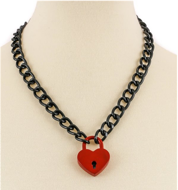 Black Chain Red Heart Lock Necklace
