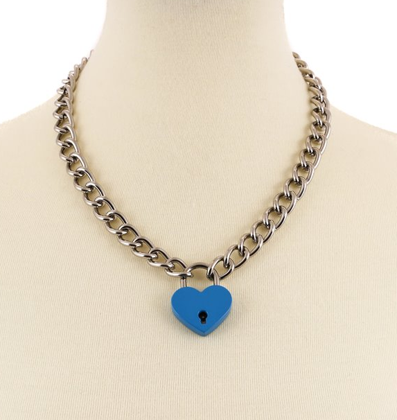 Blue Heart Lock Chain Necklace