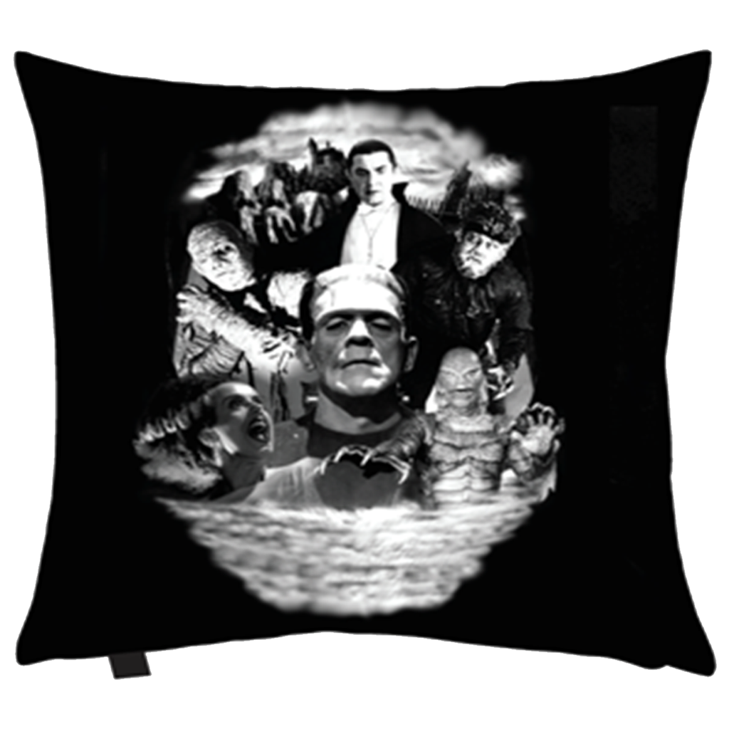 horror monster collage pillow deadrockers