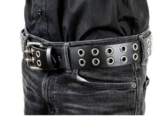 Double Eyelet Leather Belt