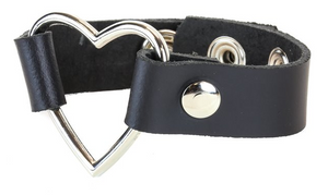 Black Leather Heart Wristband