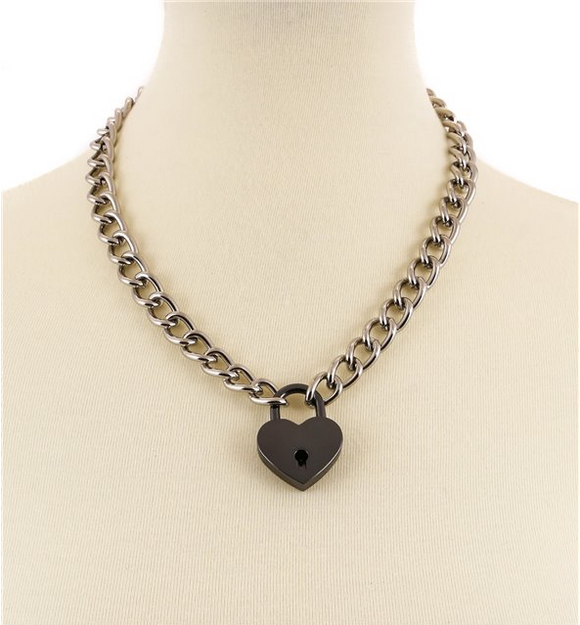 Black Heart Silver Chain Heart Lock Necklace
