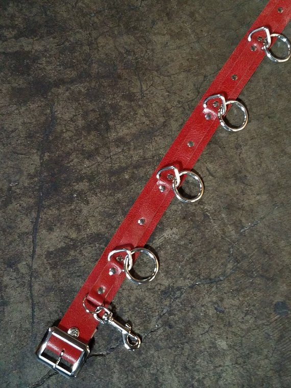5 Ring Oxblood Distressed Leather Bondage Belt