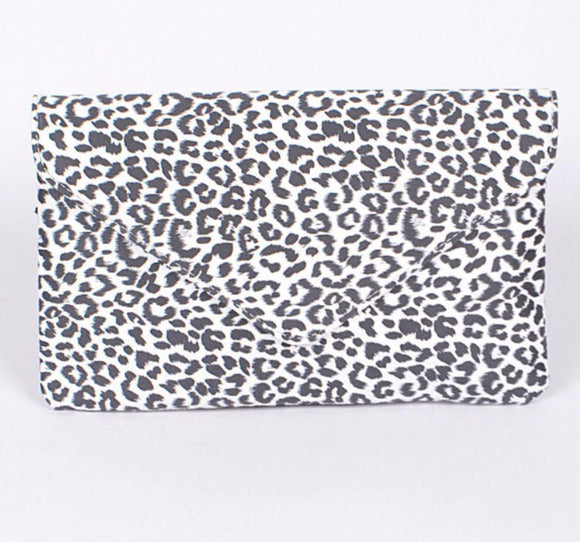 White Leopard Envelope Clutch Purse