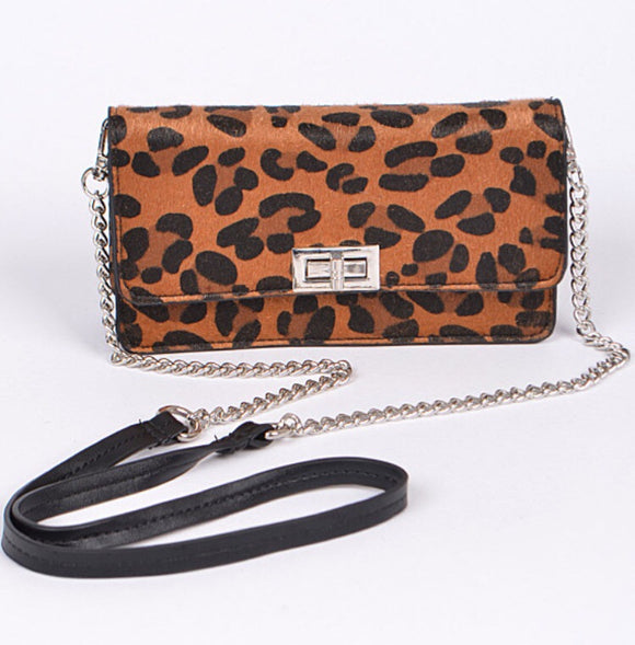 Convertible Tan Leopard Purse