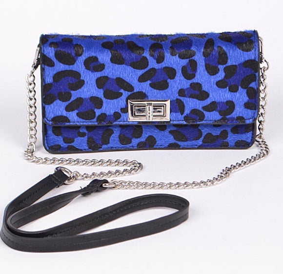 Convertible Blue Leopard Purse