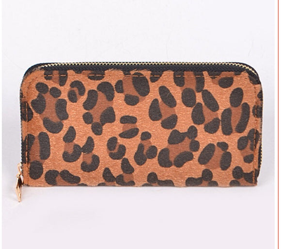 Zip Around Leopard Clutch Wallet