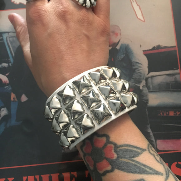 White 3 Row Pyramid Stud Wristband