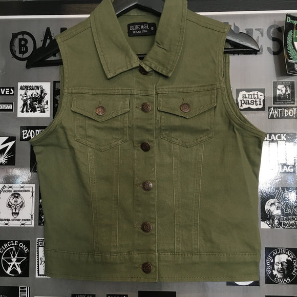 Army Green Denim Vest