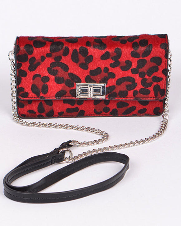 Convertible Red Leopard Purse