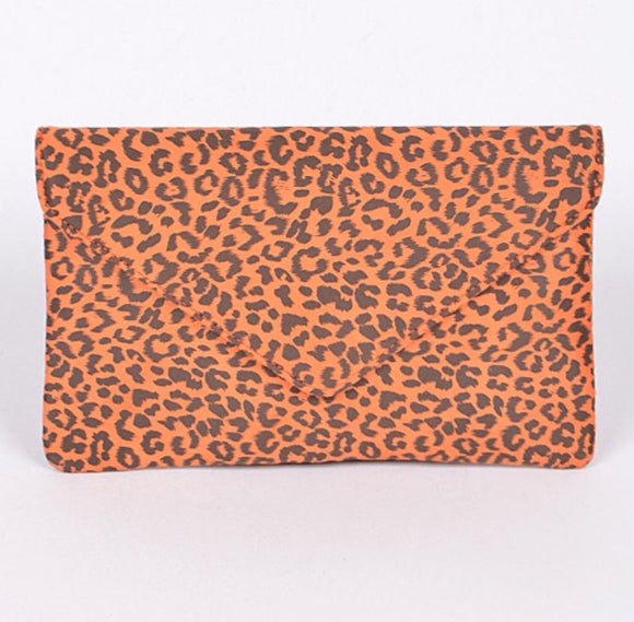 Orange Leopard Envelope Clutch Purse