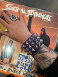 3 Row Purple Pyramid Stud Wristband