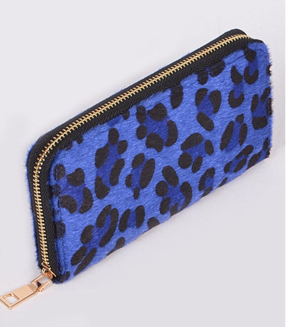 Zip Around Blue Leopard Clutch Wallet
