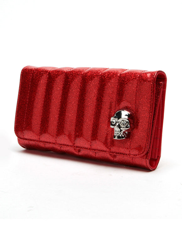 Lady Vamp Wallet Red Sparkle - DeadRockers