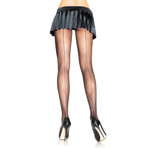 Backseam Sheer Black Pantyhose