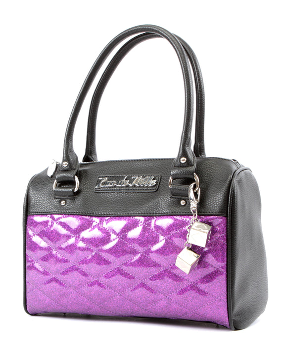 Mini Atomic Tote Black Matte & Purple Sparkle