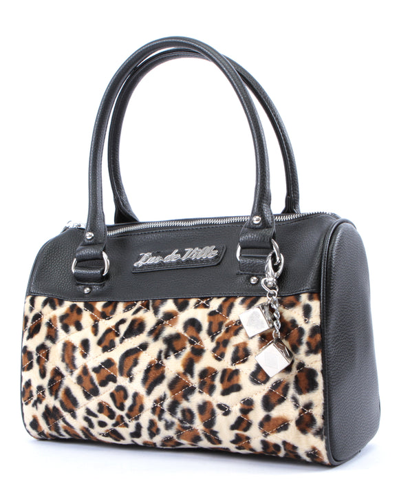Mini Atomic Tote Black Matte & Leopard