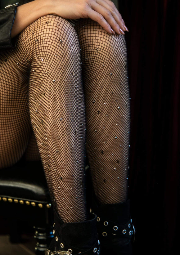 Gunmetal Studded Fishnet Tights