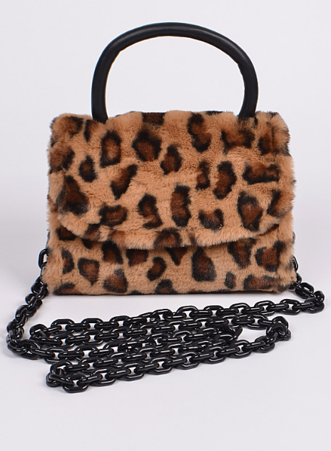 Meow Fuzzy Leopard Mini Purse