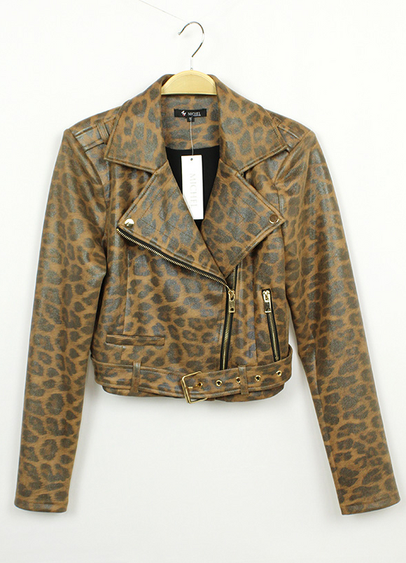 Leopard Vegan Leather Moto Jacket