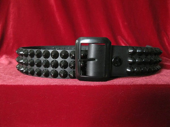 Black Cone Stud 3 Row Belt
