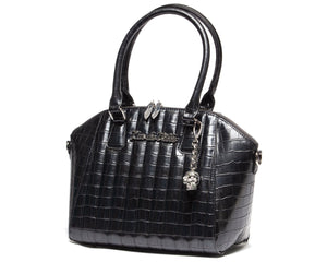 Black Faux Crocodile Lady Vamp Handbag