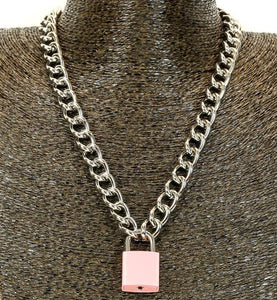 Pink & Silver Lock & Key Necklace