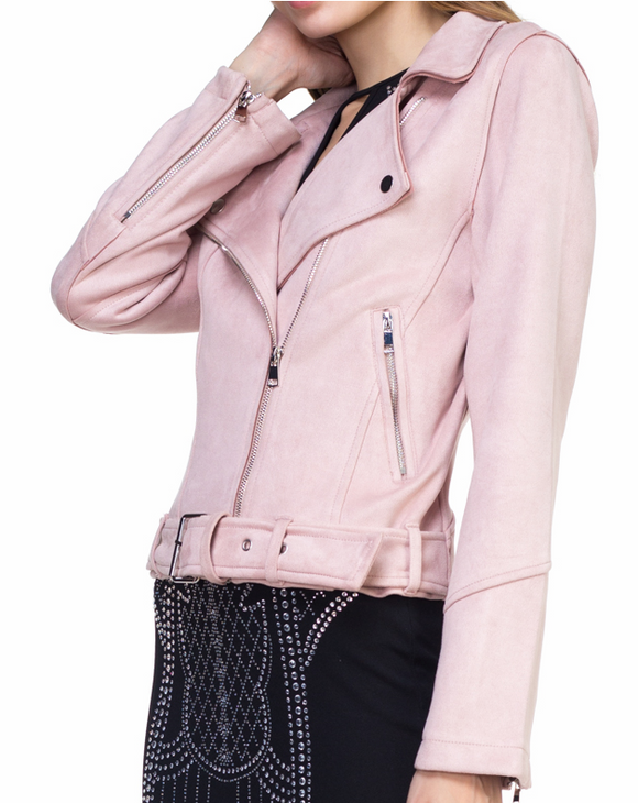 Baby Pink Faux Suede Moto Jacket