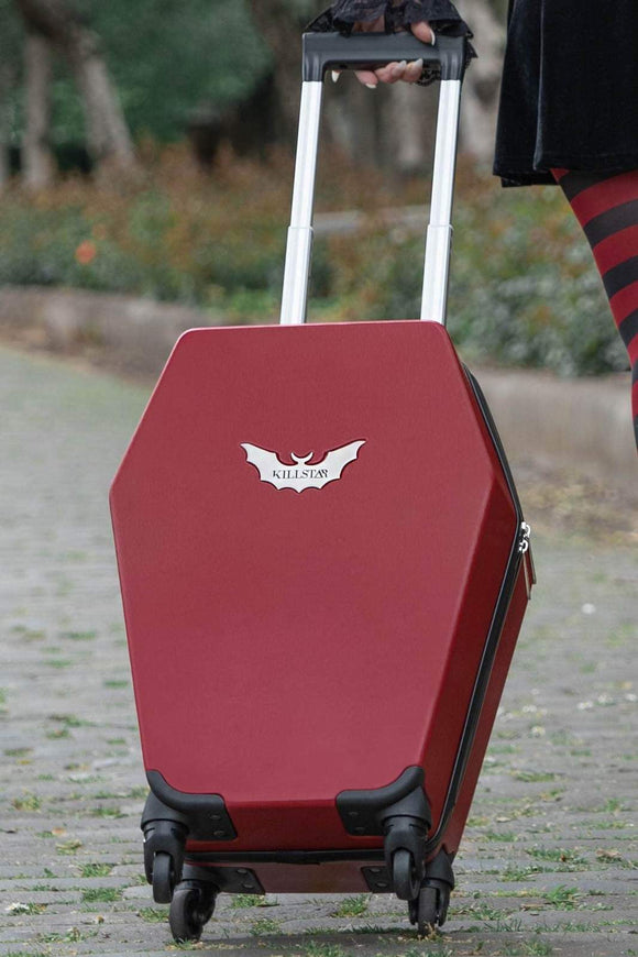 Blood Red Casket Carry Coffin Travel Suitcase
