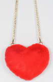 Red Heart Faux Fur Purse