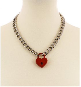 Red Heart Lock Chain Necklace