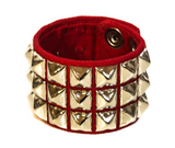 3 Row Red Pyramid Stud Wristband