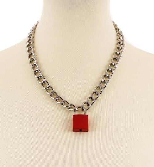 Red & Silver Lock & Key Necklace