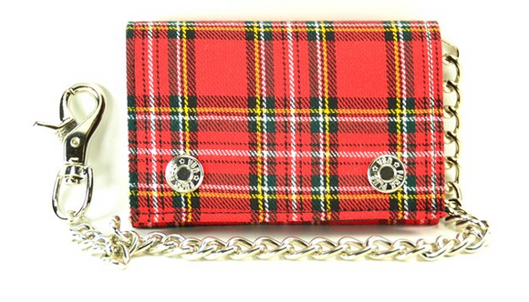 Red Plaid Chain Wallet
