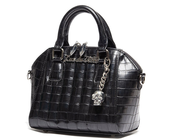 Black Faux Crocodile Mini Lady Vamp Handbag