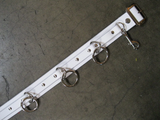 5 Ring White Leather Bondage Belt