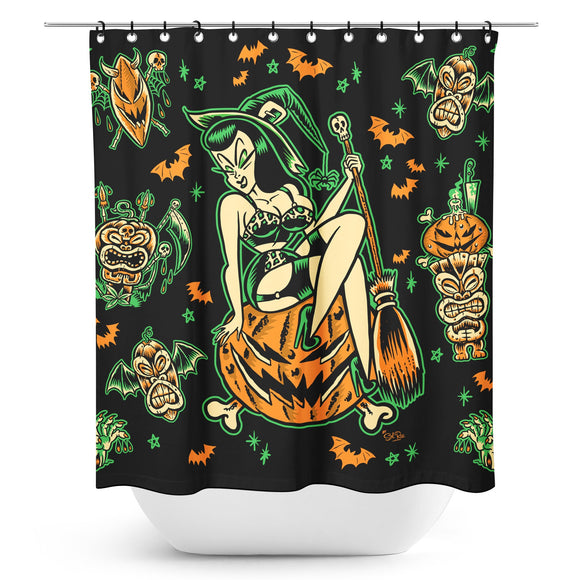 Halloween Tiki Witch Shower Curtain