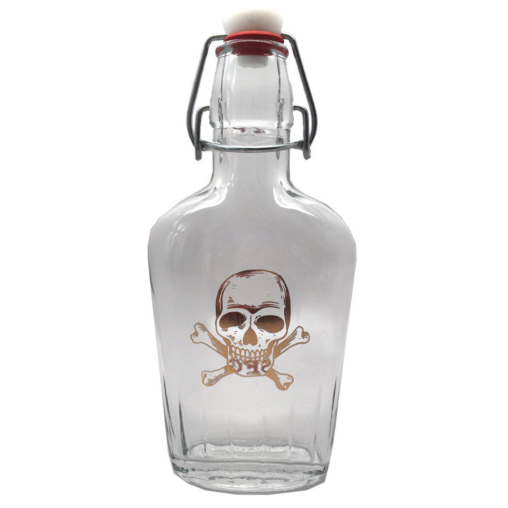 Gold Skull & Crossbones Glass Flask - DeadRockers