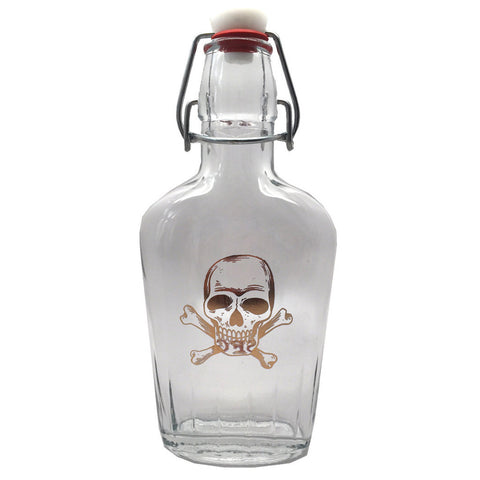 Gold Skull & Crossbones Glass Flask