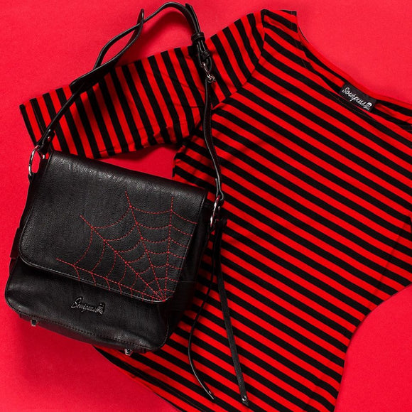 Striped Red Black Audrey Top