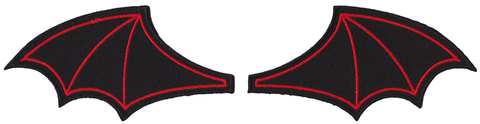 Bat Wings Patch Set Red
