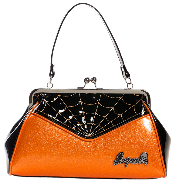 Orange Sparkle Spiderweb Purse
