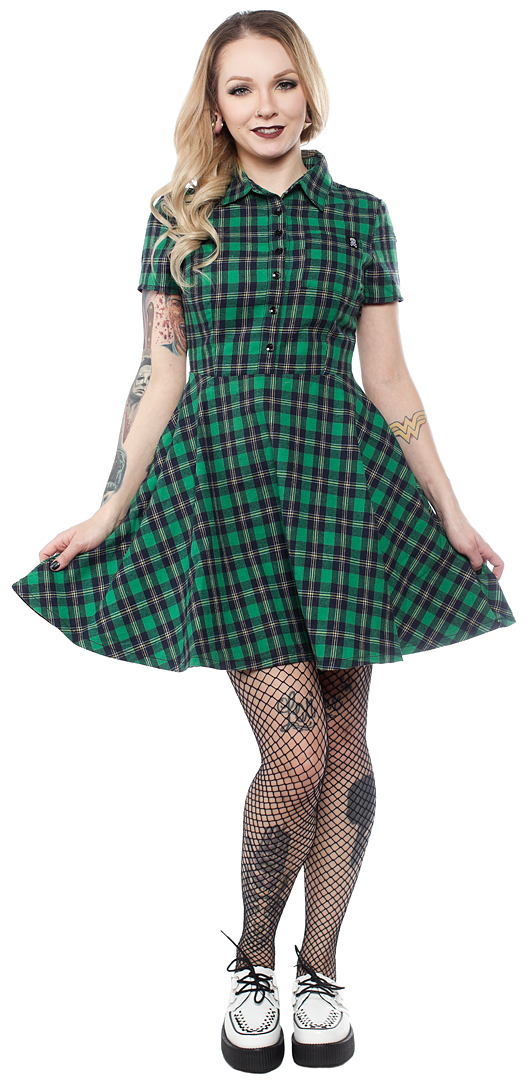 Green Plaid Button Down Dress