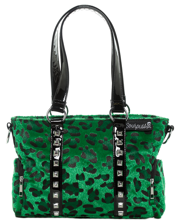 Green Leopard Mini Leda Studded Purse