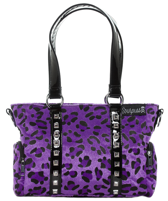 Purple Leopard Mini Leda Studded Purse