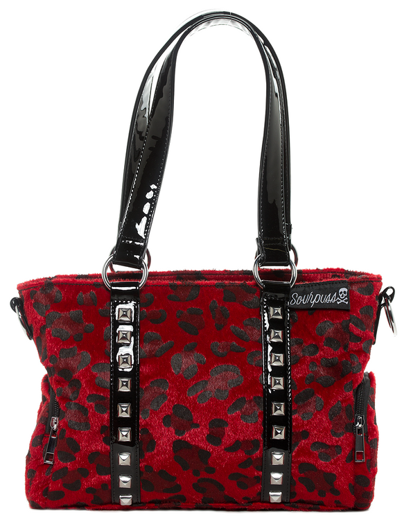Red Leopard Mini Leda Studded Purse