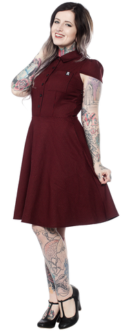 Oxblood Check Dress