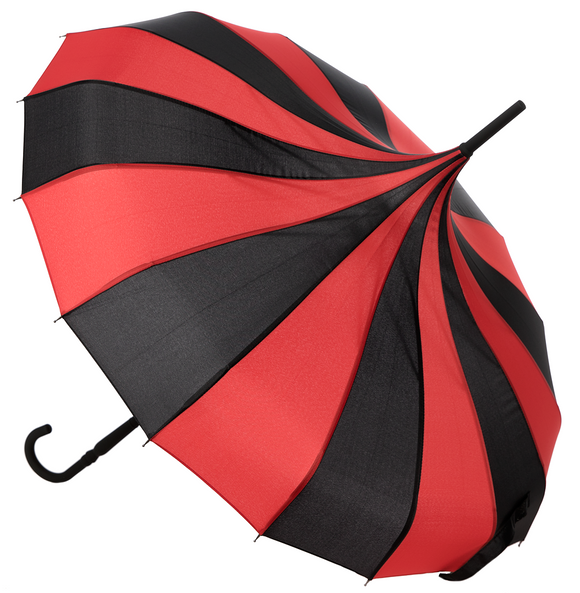 Black & Red Striped Pagoda Umbrella