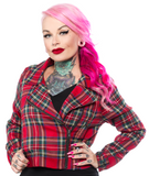 Red Plaid Moto Jacket